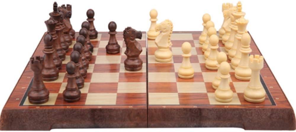 Juego de ajedrez retro de grano de madera Piezas magnéticas Tablero de ajedrez plegable y Trave Juego de mesa de estrategia portátil Los mejores juegos de regalo para niños principiantes y adultos: