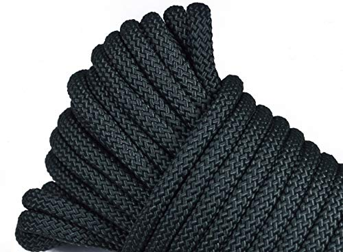 Polypropylene/Nylon Utility Rope - Cargo, Crafts, Tie-Downs, Marine, Camping, Swings, Hiking - Olive Drab Green 50 Feet