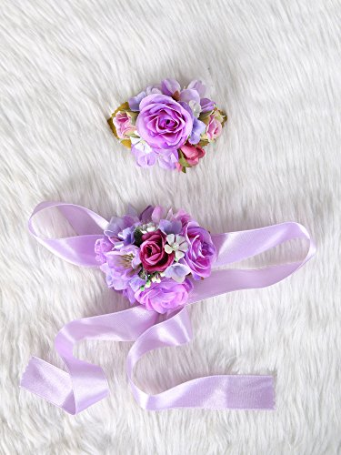Wedding Prom Wrist Corsage Silk rose and Boutonniere Set Pin Ribbon Included (Purple theme)