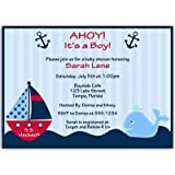 Amazon nautical baby shower invitations toys games nautical baby shower invitations anchors away stripes boys navy blue filmwisefo