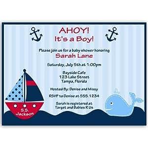 Amazon Com Nautical Baby Shower Invitations Anchors Away Stripes Boys Navy Blue Red