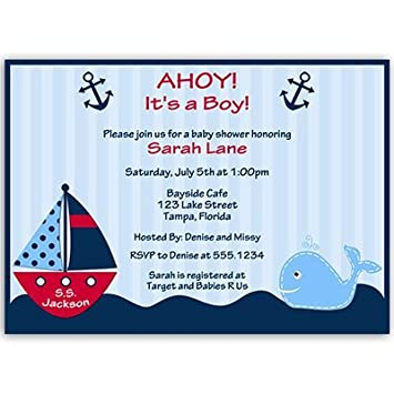Nautical Baby Shower Invitations Anchors Away Stripes Boys Navy Blue Red Whale Ship