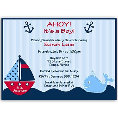 (Nautical Baby Shower Invitations, Anchors Away, Stripes, Boys, Navy, Blue, Red, Whale, Ship, Sailboat, Sprinkle, Personalized, Pack of 10 Printed Invites with Envelopes, Ahoy It's a)