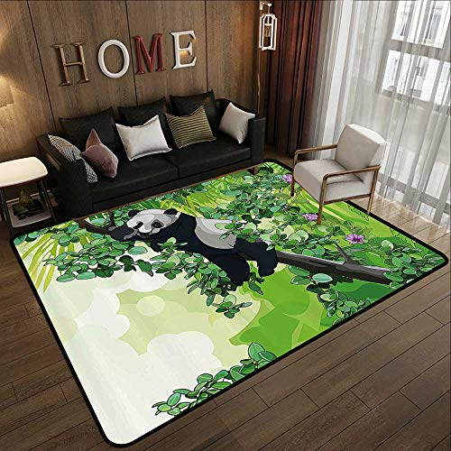 Durable Rubber Floor Mat,Jungle,Cute Panda Bear Sleeping on Tree Branches in Rainforest Image,Lime and Fern Green Black White 78.7