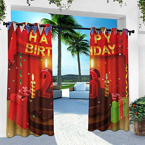 Hengshu 26th Birthday, Outdoor Blackout Curtains,Chocolate Cake with Candles and Ribbons Surprise Event Best Wishes Image, W108 x L108 Inch, Multicolor