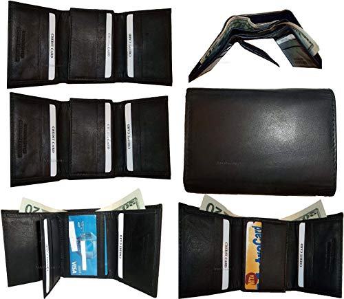 Black tri of Man's Card Leather Wallet 12 Lot 6 NWT New Credits Billfold fold 2 Awq8x4aU