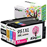 950XL 951XL Ink Cartridges, Kingjet 1 Set High Yield Replacements with Updated Chips Fit Officejet Pro 8100 8600 8610 8620 Printers
