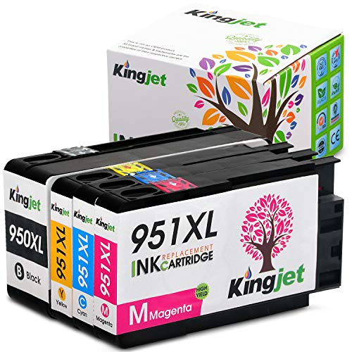 950XL 951XL Ink Cartridges, Kingjet 1 Set High Yield Replacements with Updated Chips Fit Officejet Pro 8100 8600 8610 8620 Printers ()