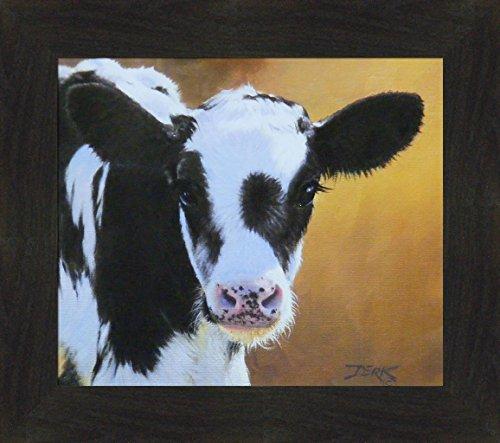 Home Cabin Décor Millie by Derk Hansen 16x18 Cow Calf Cattle Holstein Black White Farming Framed Art Print Picture ()