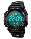 Carrie Hughes Men's Digital Sports Watch LED Screen Large Face Military Luminous Stopwatch Alarm Army Waterproof Outdoor Watch Black CH054