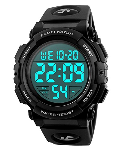 Carrie Hughes Men's Digital Sports Watch LED Screen Large Face Military Luminous Stopwatch Alarm Army Waterproof Outdoor Watch Black CH054 by Carrie Hughes