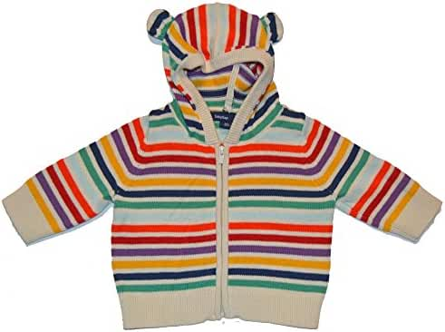 Baby Gap Unisex Rainbow Striped Bear Ear Hoody Zip Sweater 0-3 Months