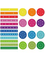 ZazzyKid Magnetic Tiles & Circles Fraction Set, 156pcs, 12 Color Coded, Counting & Math Toys