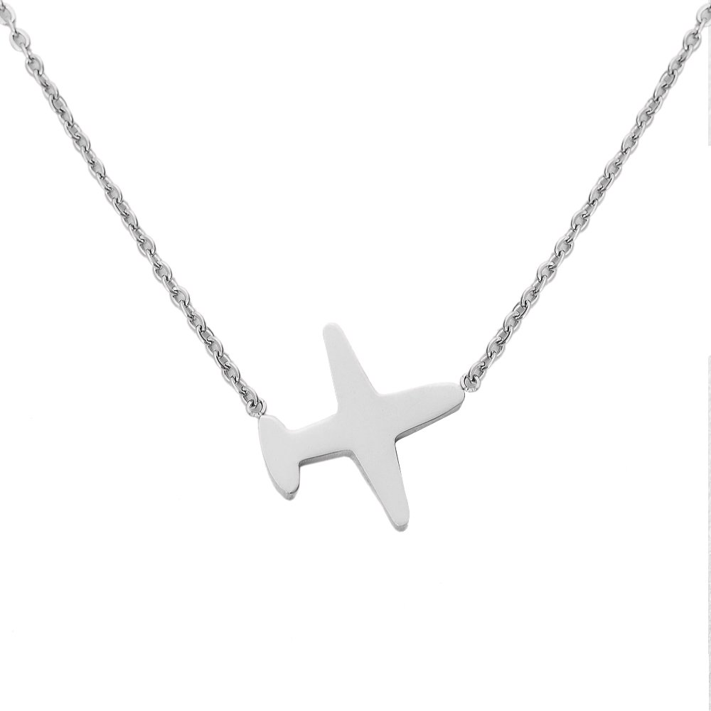 Women Plane Chain Necklace. Tiny Silver Tone Stainless Steel Gift Box Travel Symbol Charm Pendant Jewelry