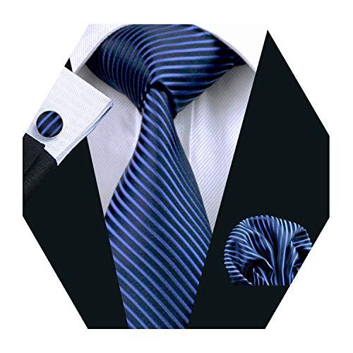 YOHOWA Mens Blue Navy Stripe Tie Pocket Square Silk Necktie Cufflinks Set