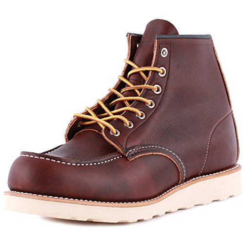Mens 1 Red 8 08138 Boots Wing Leather Brown Moc Laced Toe q7n1aXgxw
