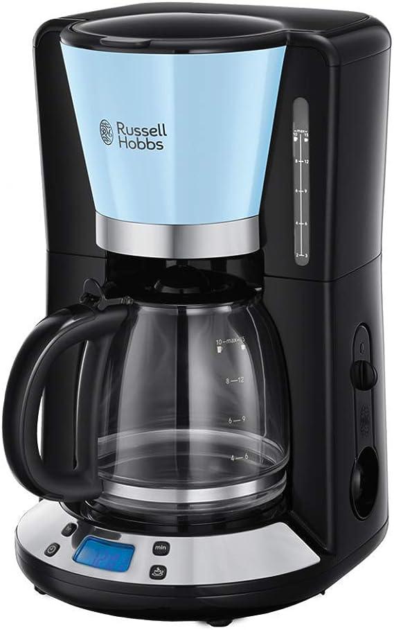 Russell Hobbs Colours Plus 24034-56 - Cafetera, Jarra de Vidrio 1.25 L, Control Digital y Pantalla LCD, Temporizador Programable, 1000 W, Prepara hasta 15 Tazas, Placa Calefactora, Classic Azul: Amazon.es: Hogar