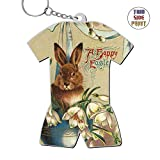 Zinc Alloy Metal Dorm Key Chain,Print Rabbit,Best Gift For Friends Men Women