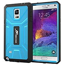 roocase Galaxy Note 4 Case, KAPSUL Note 4 Tough PC / TPU Hybrid Armor Military Case with Built-in Screen Protector for Samsung Galaxy Note 4 (2014), Blue