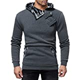AMSKY Hoodies for Men Pullover,Men's Autumn Winter Color Block Side Button Slim Fit Long Sleeve Sweatshirt Top with Pockets