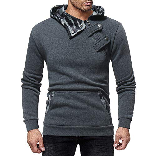AMSKY Hoodies for Men Pullover,Men's Autumn Winter Color Block Side Button Slim Fit Long Sleeve Sweatshirt Top with Pockets by AMSKY