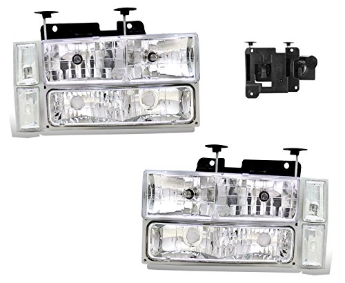 (SPPC Clear Crystal Headlights Assembly Sets For Chevy Fullsize - (Pair) Driver Left and Passenger Right Side Replacement Headlamp)
