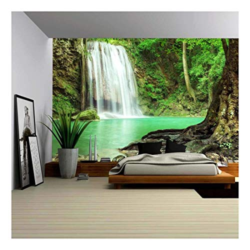 wall26 - Erawan Waterfall in Kanchanaburi, Thailand - Removable Wall Mural | Self-Adhesive Large Wallpaper - 100x144 ()