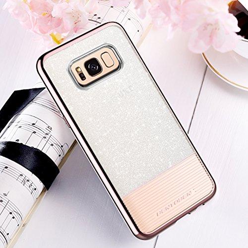 on sale a19fa 5ff38 Galaxy S8 Case, Samsung Galaxy S8 Case, BENTOBEN Bling Glitter Chrome  Stripe Design Hybrid TPU PC Dual Layer Shockproof Slim Protective Phone  Case ...