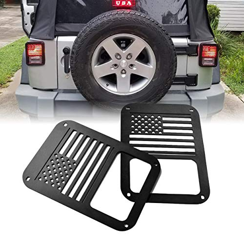 ALLINONEPARTS 2007 – 2018 JK JKU Jeep Wrangler Taillights Covers Tail light Guard Rear Light Cover USA Flag Style for Jeep Wrangler Accessories & Unlimited Rubicon Sahara Sports,Matte Black(Pairs)