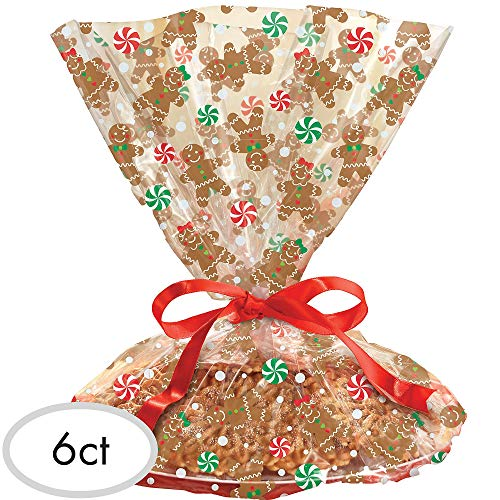 Cookie Tray Bags (Gingerbread Christmas Multicolored Cookie Tray Bags, 6 Ct. | Party)