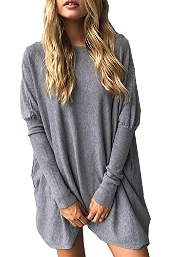 CoCo fashion Women's O-Neck Batwing Blouse Long Sleeve Pullover Tops Oversized Casual T-Shirt (X_Large, Style 2_Grey)
