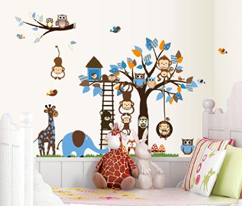 Wald und Zootiere mit Baum Aufkleber perfekt abnehmbare Wandtattoo