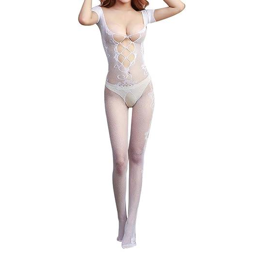 2463f3f63 Amazon.com  UNBRUVO 2019 Sexy Nightgowns for Women Open Crotch Body Stocking  Bodysuit Nightwear Lingerie-Women Underwear White One Size  Clothing