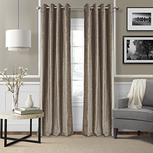Cheap Elrene Home Fashions 026865796124 Blackout Energy Efficient Room Darkening Grommet Velvet Window Curtain Drape Regal Solid Panel, 52″ x 84″, Taupe