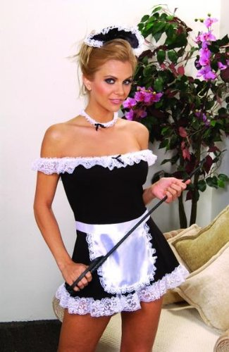 French Maid Costume SeXy 4 pieces Dress Apron Head & Neck Pieces