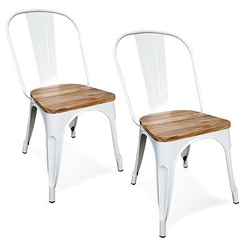 Damiware - Juego de 2 sillas Tolix de metal negro gris con asiento ...
