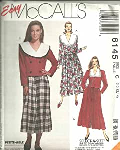 Misses Two-Piece Dresses (Top, Skirt And Split-Skirt) Size: 10,12, 14. McCall's Sewi8ng Pattern 6145