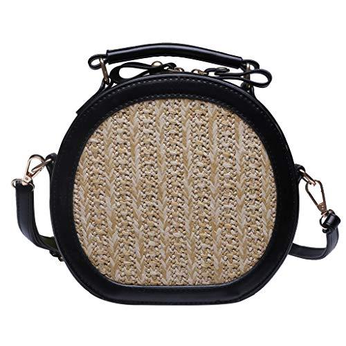 Round Rattan Bags Appliques Handmade Wicker Woven Purse Straw Tassel Handbags Circle Boho Shoulder Messenger Summer Beach PU Leather Strap Retro Crossbody for Women