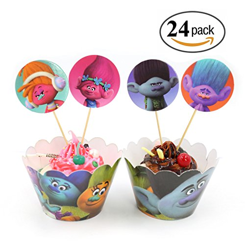 Price comparison product image Trolls Cupcake Toppers and Wrappers Kids Birthday Party Cake Decorations,  Set of 24