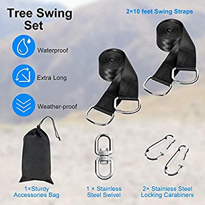 Diaclara Tree Swing Hanging Straps, Set of 2, Holds 4400 lbs, 10ft Extra Long Straps with Safe Lock Snap Hooks, Perfect for Tire, Saucer Swings, Hammocks, Easy Installation, Carry Bag Included: Sports & Outdoors