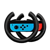 Switch Steering Wheel Controller Grip Handle Holder for Nintendo Switch Joy-Con Lammcou Mario Racing Wheel Grips Accessories for Nintendo Switch Games Mario Kart 8 Cars 3 Driven To Win (2 Pack Black)