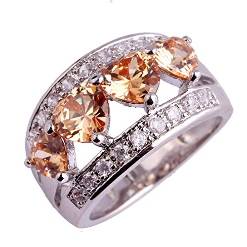 Veunora 925 Sterling Silver Created Morganite Filled Heart Ring Band for Women Plated Created Diamond Hearts Ring