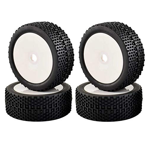LAFEINA 4Pcs 1/8 Scale Tires Wheels 17mm Hubs RC 1:8 Buggy Off-Road HSP HPI Model Car Parts (White) ()