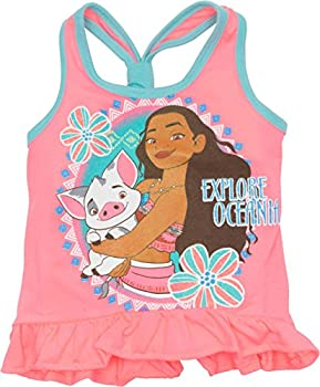 Disney Moana Toddler Girls' Ruffle Tank Top & Bike Short Set Pink (4t) 1