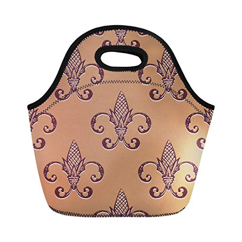 Antique Tawny Port - Semtomn Neoprene Lunch Tote Bag Brown Abstract Fleur De Lis Yellow Antique Beautiful Butterum Reusable Cooler Bags Insulated Thermal Picnic Handbag for Travel,School,Outdoors, Work