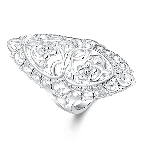 (Cutedoumiao Womens 925 Sterling Silver Filigree Ring Floral Filigree Vines Ring Band (8) )