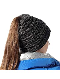 Girls Knit Beanie Hat Soft Stretch Messy High Ponytail Winter Skull Cap, Mix Black