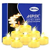 AGPtek® 100 Pack Warm White Flickering and Flameless Tealight Candles Battery (included) Operated
