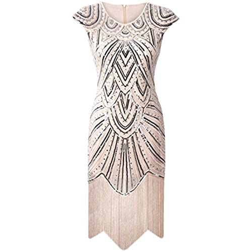 PrettyGuide Womens 1920s Gastby Diamond Sequined Embellished Fringed Flapper Dress S Luxury Beige