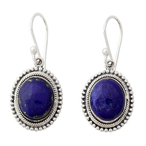 NOVICA Lapis Lazuli .925 Sterling Silver Dangle Earrings 'True - Oval Earrings Lapis